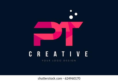PT P T Purple Letter Logo Design with Low Poly Pink Triangles Concept