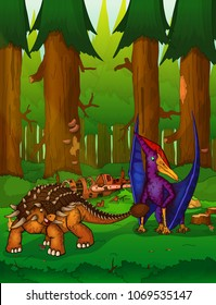 Pteranodon and ankylosaurus on the background of a waterfall.