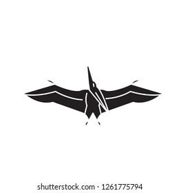 Pteranodon black vector concept icon. Pteranodon flat illustration, sign