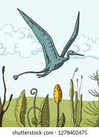 Pteranodon Dinosaur in its habitat. Jurassic and Cretaceous animal. Prehistoric vector dino.