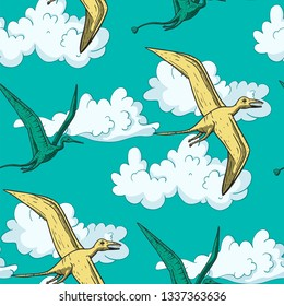 Pteranodon Dinosaur in its habitat. Jurassic and Cretaceous animal flying in the sky. Prehistoric vector dino seamless pattern.