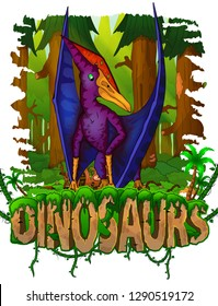Pteranodon on the background of the forest. Vector logo. Dinosaur world