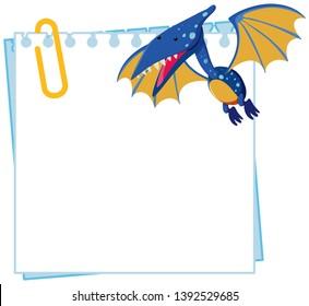 Pteranodon on note template illustration