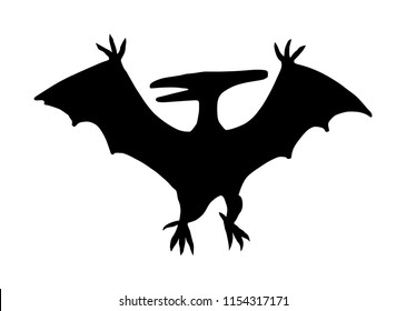Pteranodon vector silhouette illustration isolated on white background. Pterodactyl vector silhouette isolated on white background.