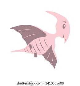 Pterodactyl cartoon dinosaur. Cute funny illustration of Pterodactyl. Vector illustration