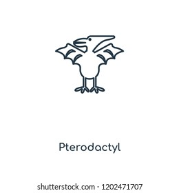 Pterodactyl concept line icon. Linear Pterodactyl concept outline symbol design. This simple element illustration can be used for web and mobile UI/UX.