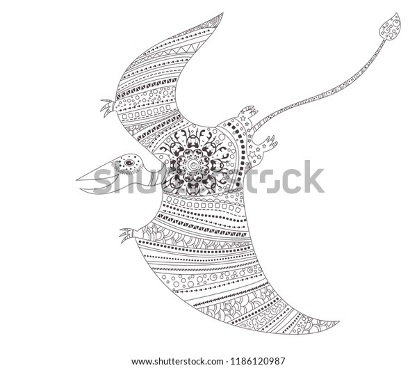 Pterodactyl Dinosaur Coloring Page Child Adults Stock Vector ...