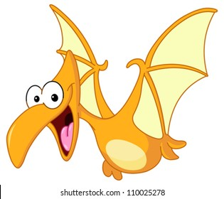 Pterodactyl dinosaur flying