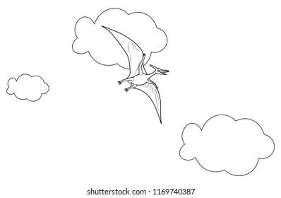 pterodactyl dinosaur flying on the air sky education learning