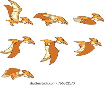 Pterodactyl Flying Jurassic Bird cartoon Game Animation Sprite