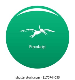 Pterodactyl icon. Simple illustration of pterodactyl vector icon for any design green