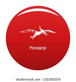 Pterodactyl icon. Simple illustration of pterodactyl vector icon for any design red