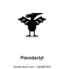 Pterodactyl icon vector isolated on white background, logo concept of Pterodactyl sign on transparent background, filled black symbol