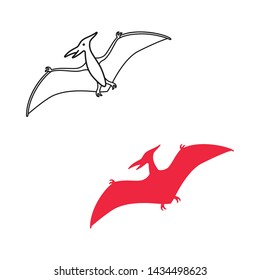 Pterodactyl vector silhouette and contour. Pteranodon dinosaur. Pterosaur isolated on white background