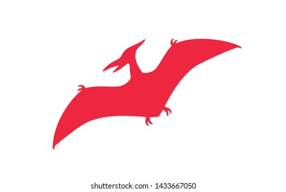 Pterodactyl vector silhouette. Pteranodon dinosaur. Pterosaur red silhouette isolated on white background