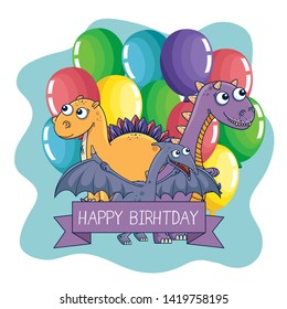 pterosaur with stegosaurus and carnotaurus with balloons and ribbon