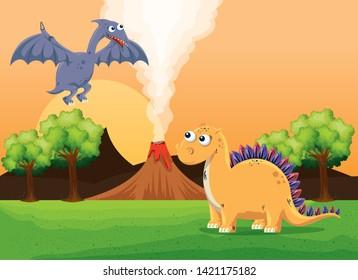 pterosaur and stegosaurus with volcano smoke and trees