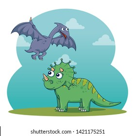 pterosaur and triceratops wild dinosaur with clouds