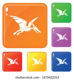 Pterosaurs dinosaur icons set collection vector 6 color isolated on white background