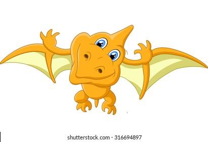 Pterosaurus cartoon illustration vector