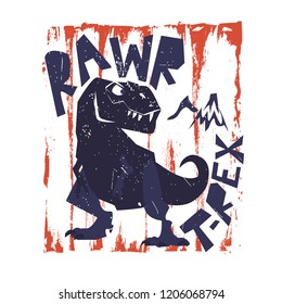 Ptint with dinosaur t-rex. Print for fabric, textile, poster,  wear, case, t-shirt.
