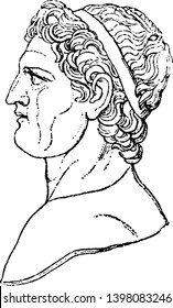Ptolemy in Profile he was an ancient mathematician astronomer geographer and astrologer vintage line drawing or engraving illustration