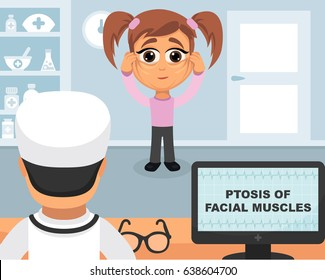 Ptosis of facial muscles medical concept. Vector illustration. Doctor and patient are talking in the hospital. Isolated on white background.