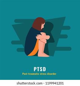 PTSD. Post traumatic stress disorder. Mental health illustration