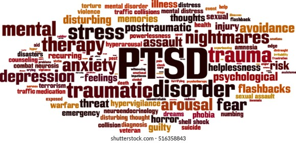 PTSD word cloud concept. Vector illustration