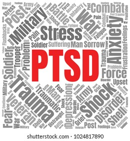 PTSD Word Cloud. Post Traumatic Stress Disorder Concept. Vector Collage