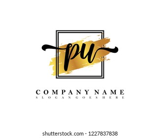 PU Initial handwriting logo concept