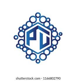 PU Initial letter hexagonal logo vector