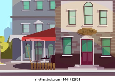 Pub, bar exterior flat vector illustration. Empty city street, urban architecture. Public tavern facade, front with signboard, awning and wooden fence. Alcohol sale business, catering service