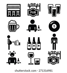 Pub, drinking alcohol, beer belly icons set