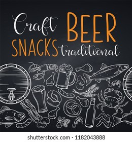 Pub food and beer seamless border on chalkboard. Vector alcohol and snacks poster with crab, lobster, shrimp, fish, chicken wings and legs, pretzel and nachos for craft beer club sketch illustration.