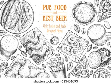Pub food frame vector illustration. Beer, meat, pizza, fast food and snacks hand drawn. Food set for pub design top view.  Vintage engraved illustration for beer restaurant for beer restaurant.
