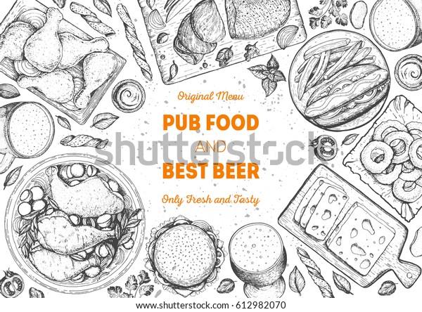 Pub food frame vector illustration. Beer, meat, fast food and snacks hand drawn. Food set for pub design top view. Vintage engraved illustration for beer restaurant for beer restaurant.