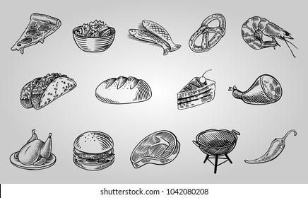 Pub food set. vintage line art vector illustration