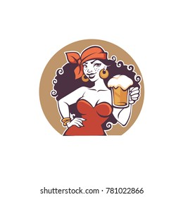 Pub Party, vector portrait of beautiful  cartoon lady  hold a draft beer