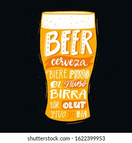 Pub poster with beer word in different languages. Spanish cerveza, russian pivo, french biere, finnish olut. Handwritten text on yellow pint glass. Multilingual print for brewery