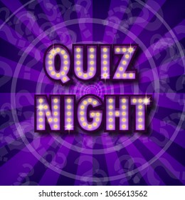 Pub quiz announcement poster. Vintage styled light bulb box letters shining on dark background. Questions team game for intelligent people. Vector illustration, glowing electric sign in retro style.