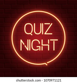 Pub quiz announcement poster, vintage styled neon glowing letters shining on dark brick background. Questions team game for intelligent people.Vector illustration, glowing electric sign in retro style