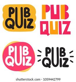 Pub quiz. Badge, icon, set. Hand drawn vector illustrations on white background.