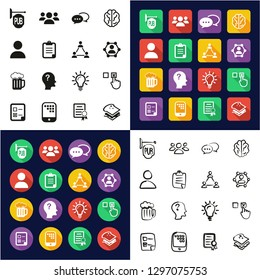 Pub Quiz or Bar Quiz Icons All in One Icons Black & White Color Flat Design Freehand Set