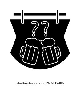 Pub quiz glyph icon. Bar trivia. Quiz night signboard. Pub game. Beer mug and question marks. Silhouette symbol. Negative space. Vector isolated illustration