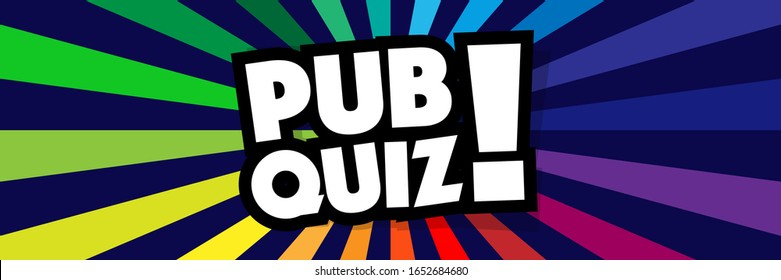 Pub quiz on radial stripes background