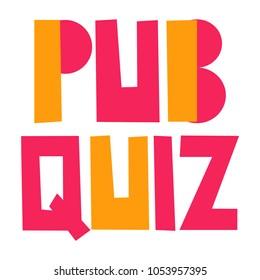 Pub quiz. Vector hand drawn illustration on white background.