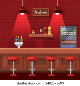 Pub in red color with bricks wall and lamps decorated by stools row near wooden bar counter with beer and shelf with bottles and fridge with alcohol beverage. Empty city bar interior. Cartoon flat