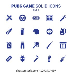 PUBG game glyph icons. Vector illustration of combat facilities. Solid design. Set 2 of icons
