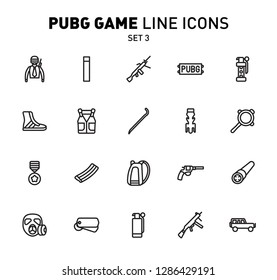 PUBG game line icons. Vector illustration of combat facilities. Linear design. The Set 3 of icons for PlayerUnknown's Battlegrounds.